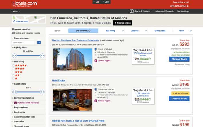 Hotels.com Results