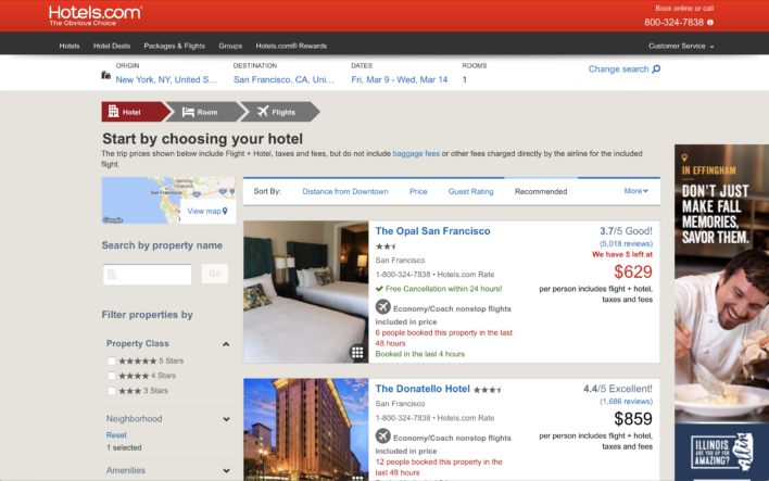 Hotels.com Vacation Package search results