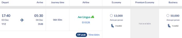 Aer Lingus Avios Off-Peak Toronto-Dublin