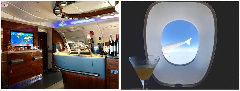 Emirates First Class A380 - At The Onboard Bar