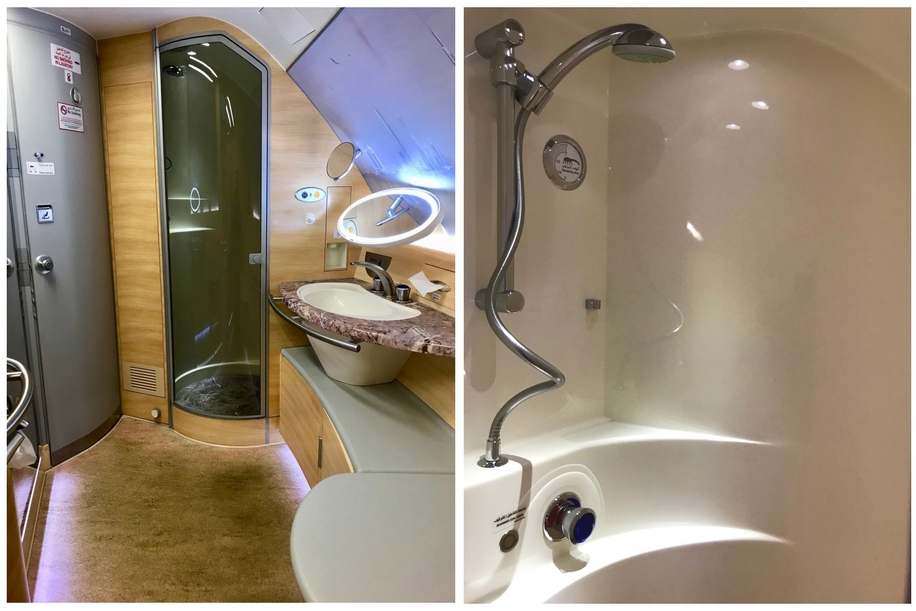 Emirates First Class A380 - Bathroom and Shower
