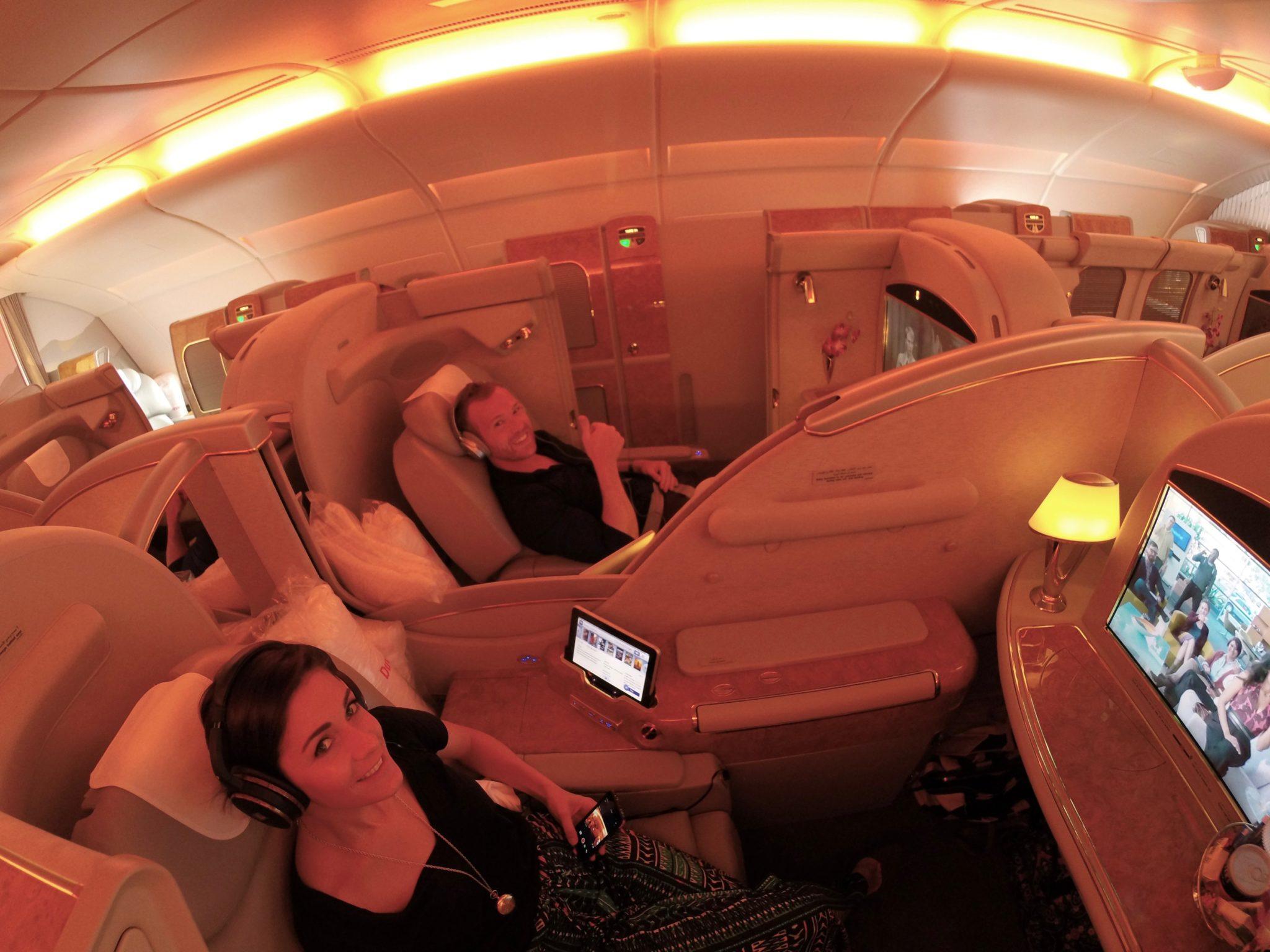 Emirates First Class A380 - Couple Enjoying The Flight