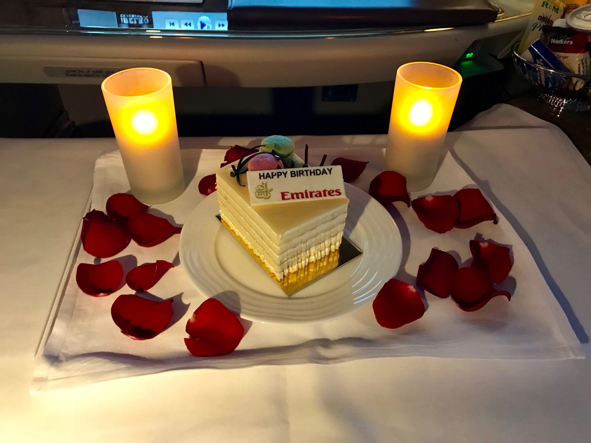 Emirates First Class A380 - Happy Birthday Onboard