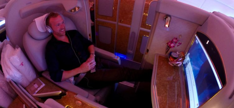 Emirates First Class A380 - Seat 2E Enjoying A Movie