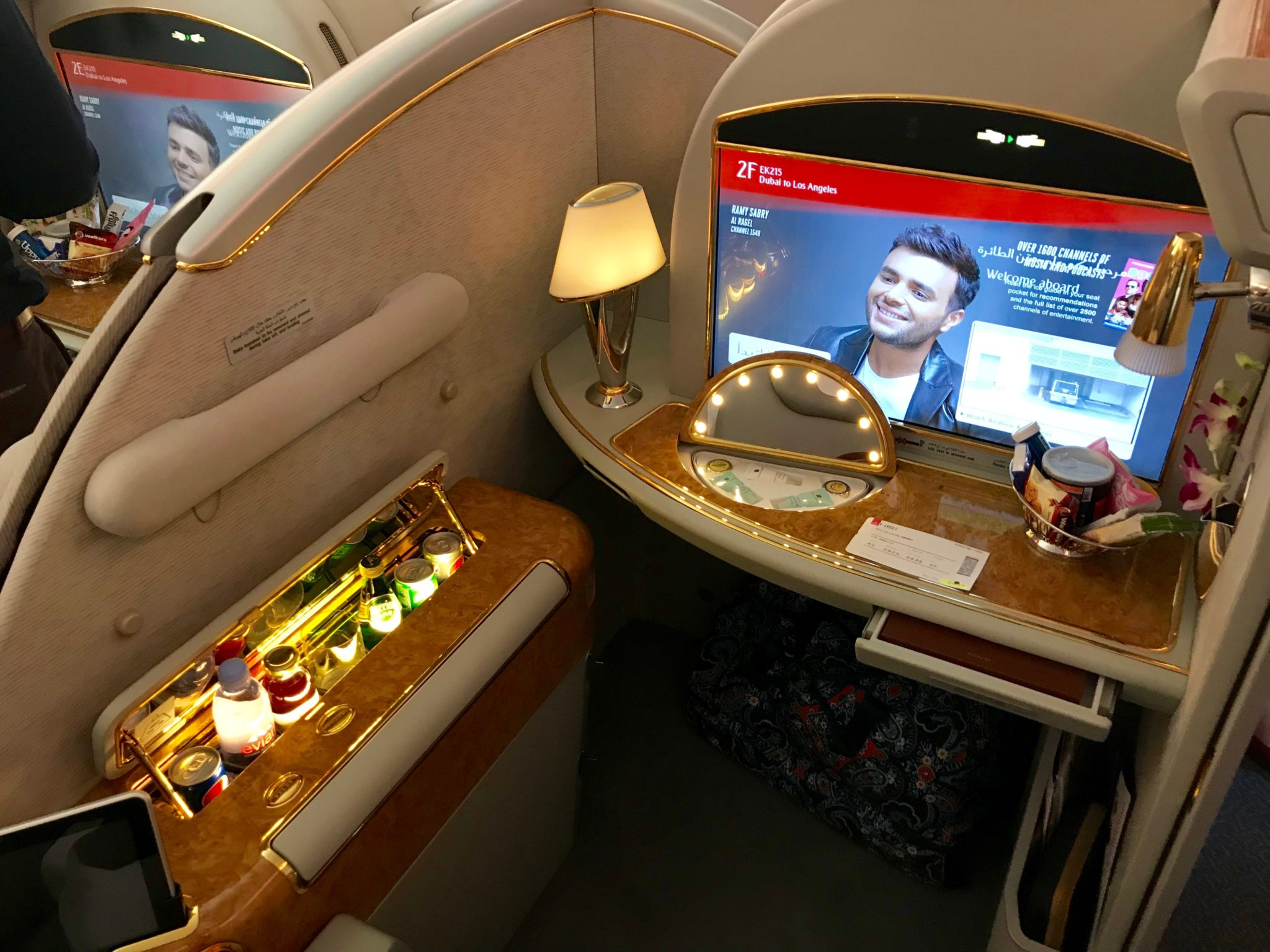Emirates First Class A380 - Seat 2F with MiniBar