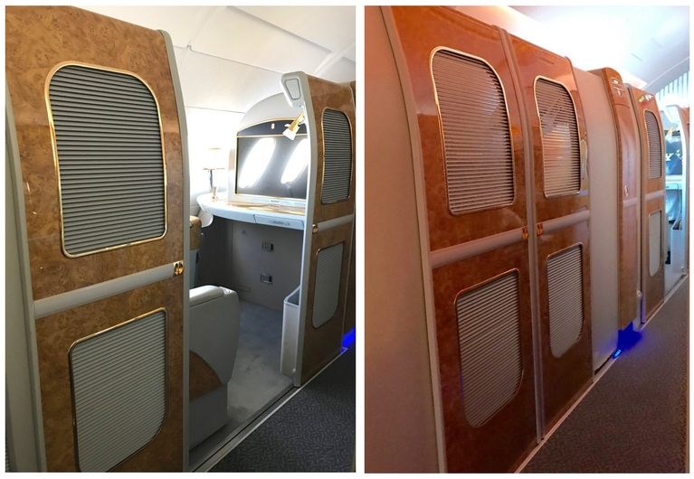 Emirates First Class A380 - Suite Doors Open & Closed