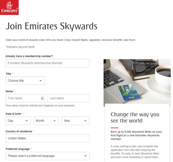 Emirates Skywards Join