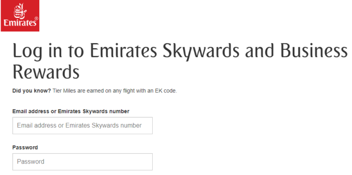 Emirates Skywards Login