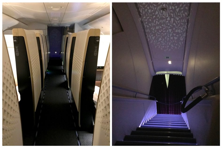 Etihad First Class Apartment - Aisle and Stairwell with Lighting