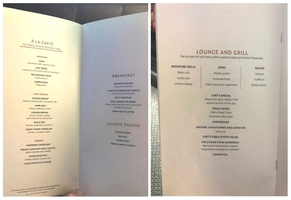 Etihad First Class Apartment - SYD to AUH Menu