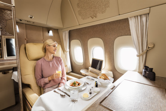New Emirates First Class Dining