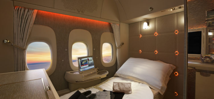 New Emirates First Class Fully Flat Bed
