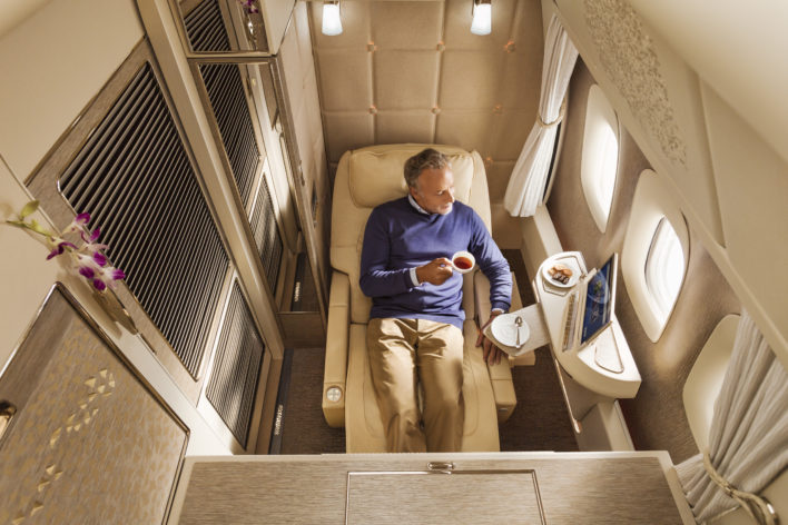 New Emirates First Class Zero Gravity Position
