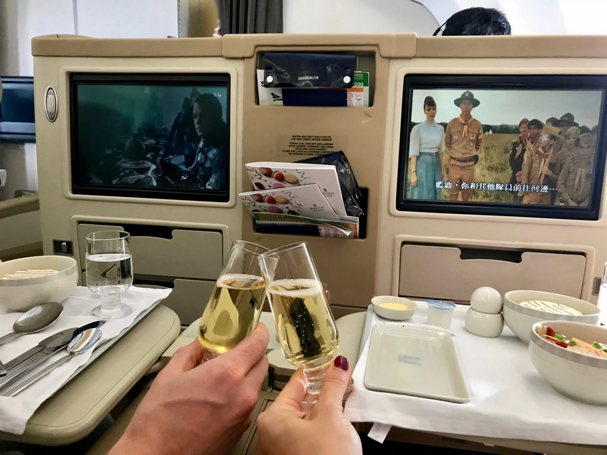 Singapore Airlines Business Class A330 - Champagne Cheers