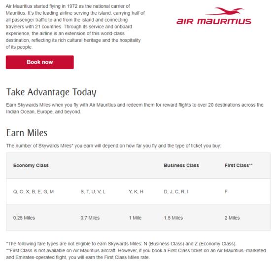 Skywards Earn Air Mauritius