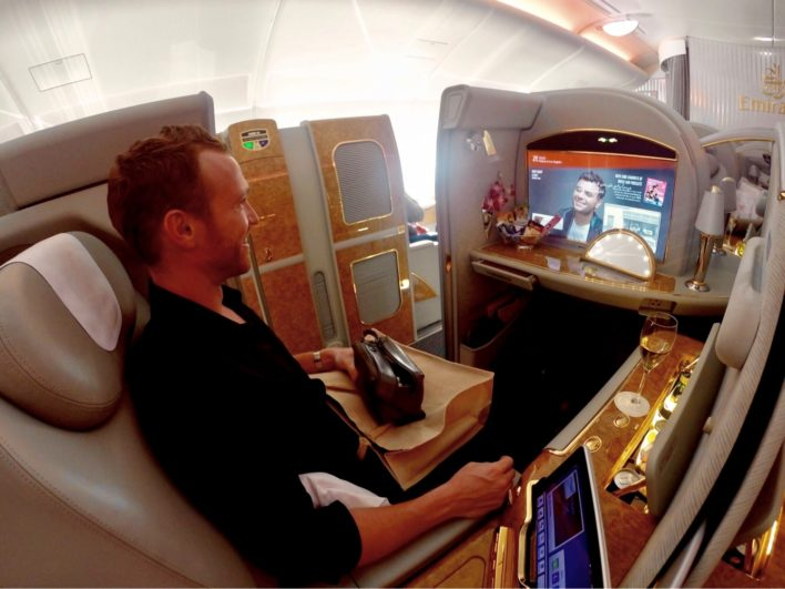 Emirates First Class A380 - Seat with Amenities & Excitement