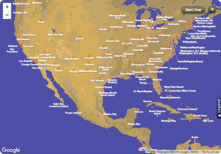Southwest Airlines Destination Map
