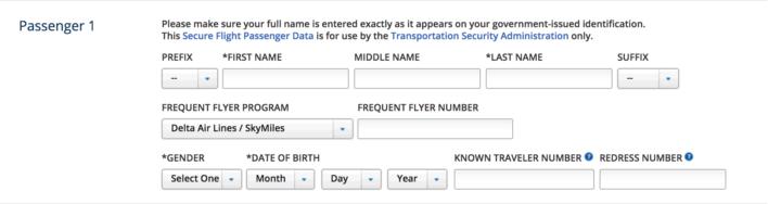Delta Known Traveler Number