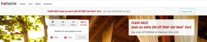 Hotwire Promo Code on Home Page