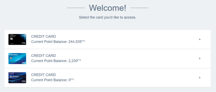 Choose a card to use in the Ultimate Rewards travel portal