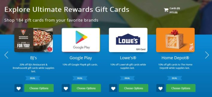Chase Travel Portal - Gift Cards