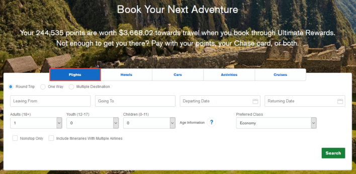 How To Book A Flight On The Chase Ultimate Rewards Travel Portal