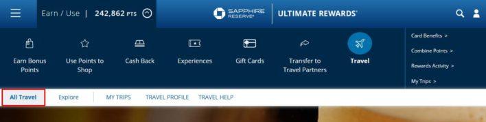 Book Travel through the Chase Ultiamte Rewards travel portal