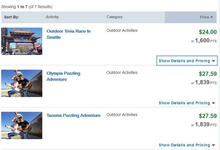 Book activities on the Chase Ultimate Rewards travel portal