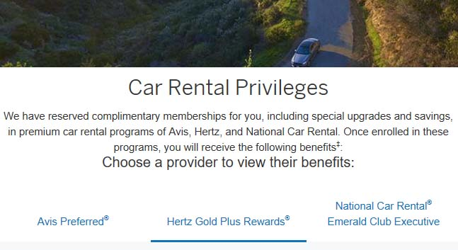 Hertz benefits from the Platinum Card From American Express