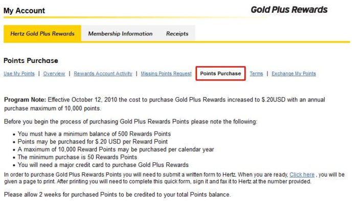 How To Purchase Hertz Gold Plus Rewards points