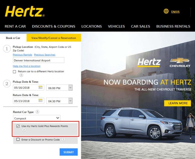How To Use Hertz Gold Plus Rewards Points