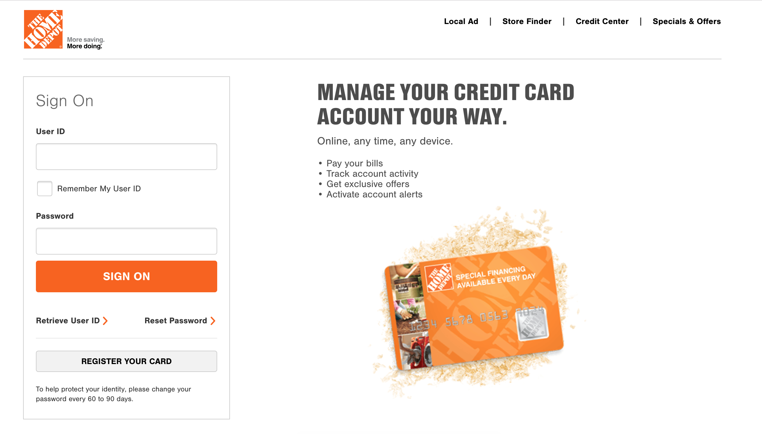 Home Depot Consumer Card Log-In : Portal