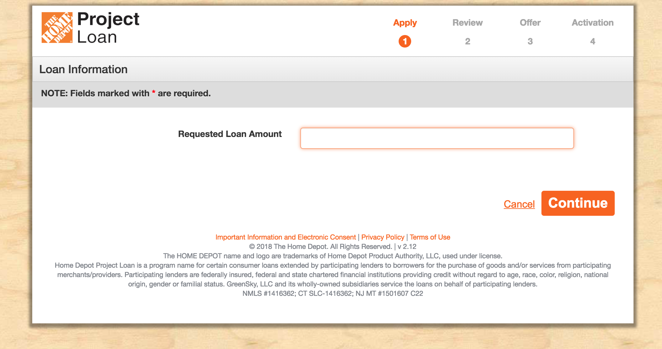 Home Depot Project Loan Application Page