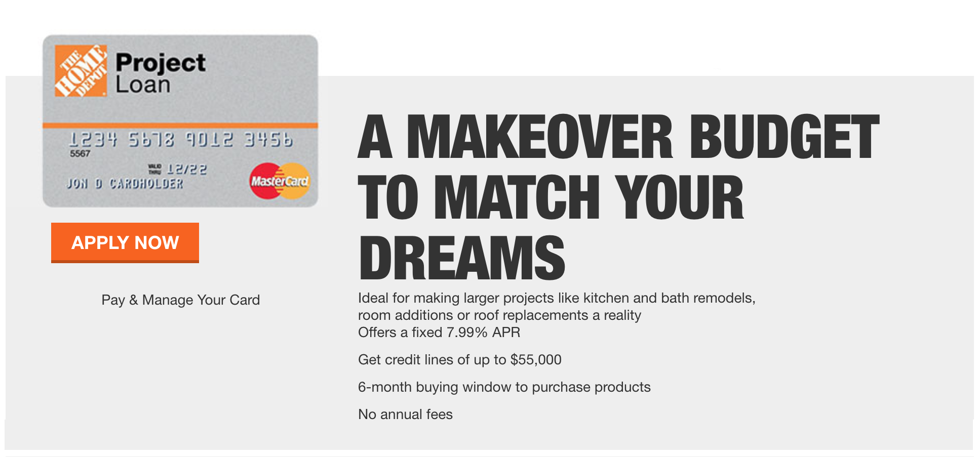 Home Depot Project Loan Credit Card