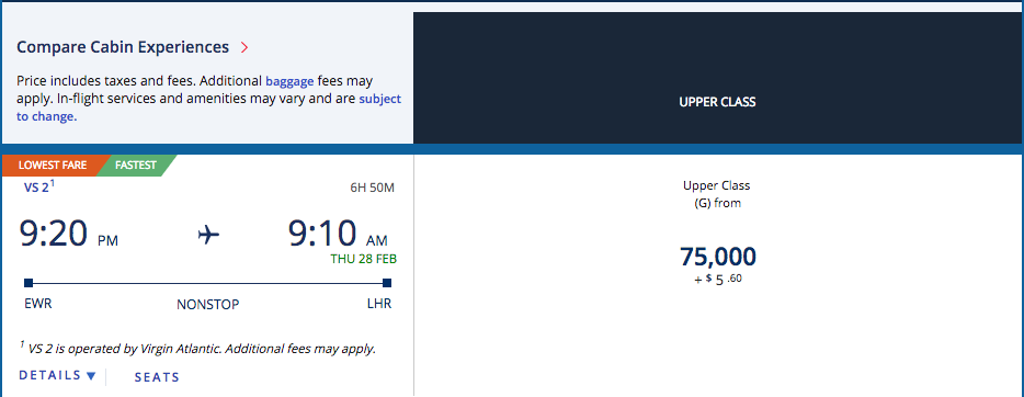 Redeem Delta Skymiles For Virgin Atlantic Upper Cl Ewr Lhr
