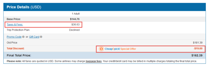 Cheapoair fees and discounts