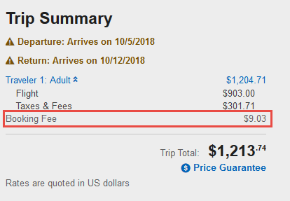 Orbitz Booking Fee