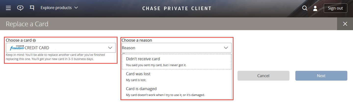 how to request a replacement chase credit card step by step