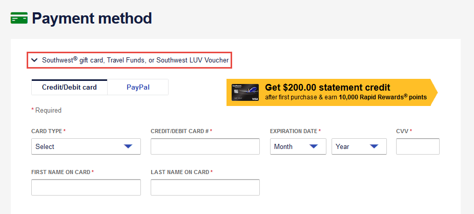southwest gift card luv vouchers funds cards travel credit