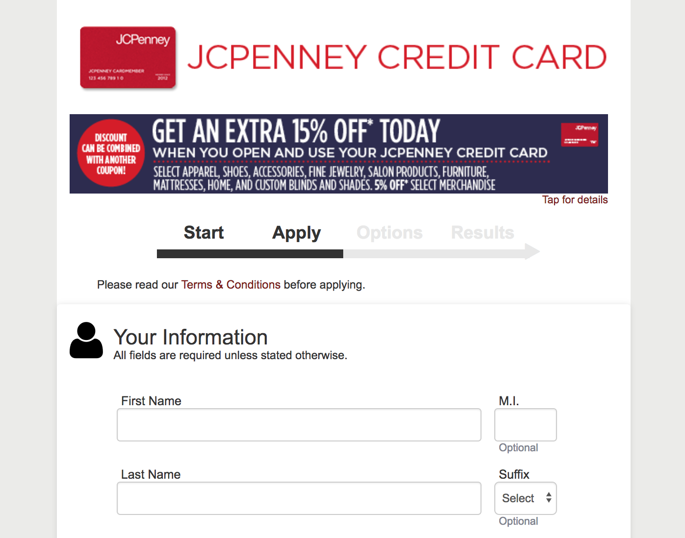 Applying For The JCPenney Card