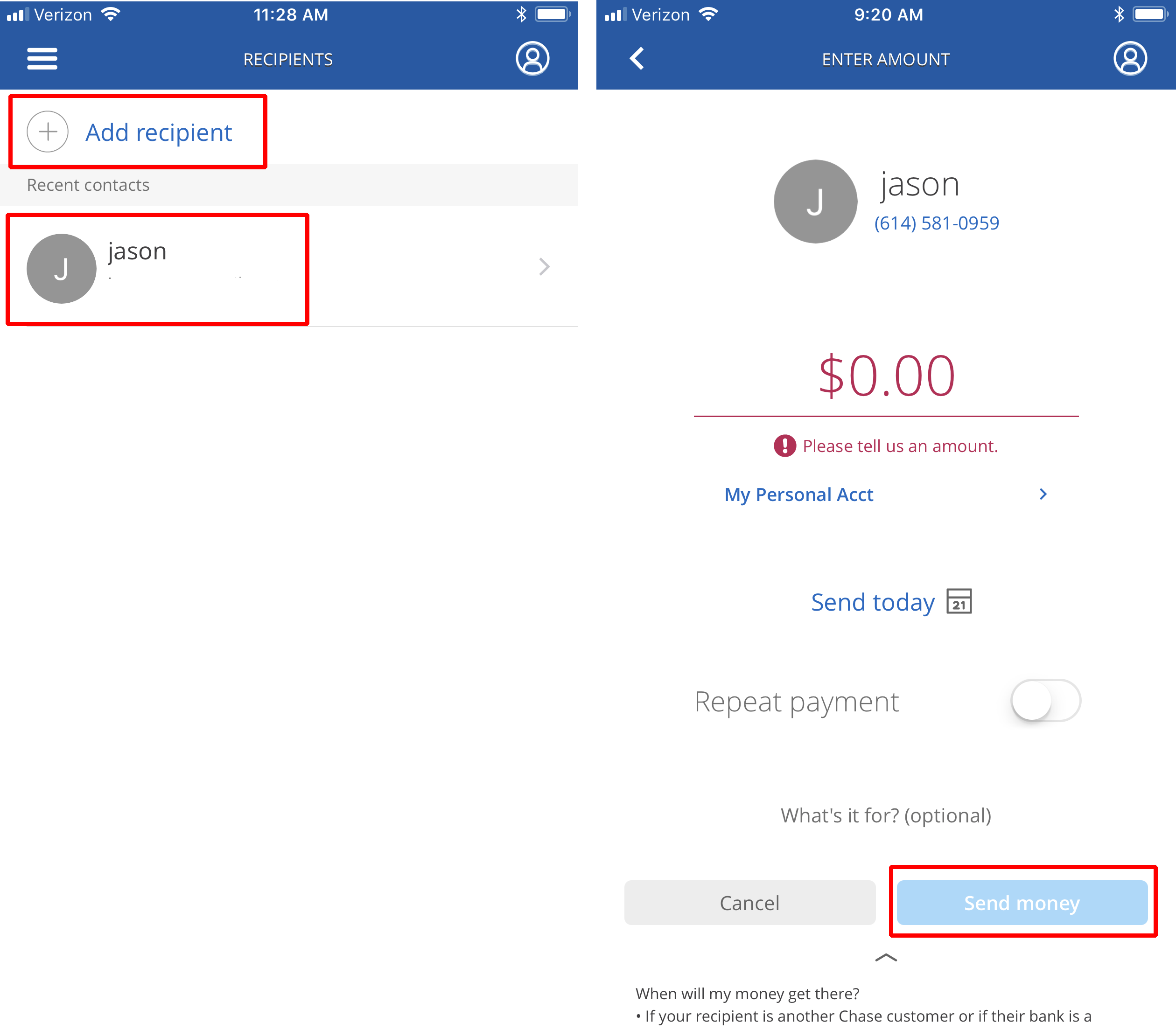 Sending Money With Chase Quickpay On Mobile