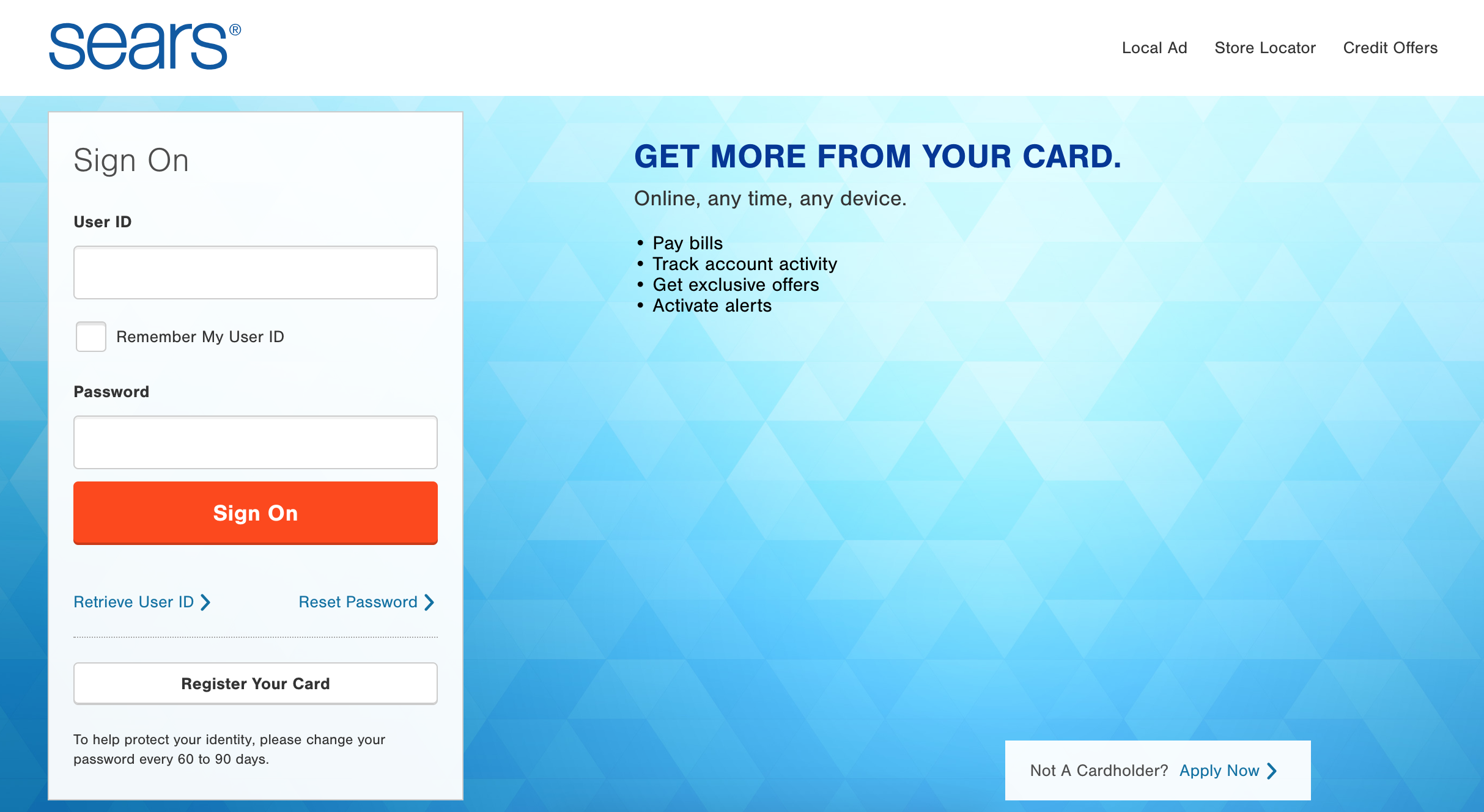 Sears Credit Card Online Management via Citibank
