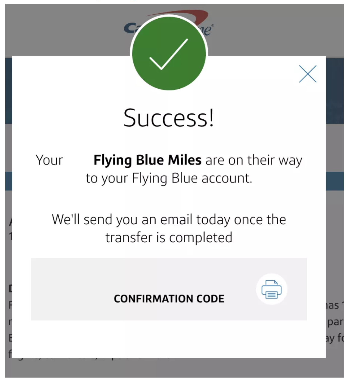 Capital One Transfer Miles Success