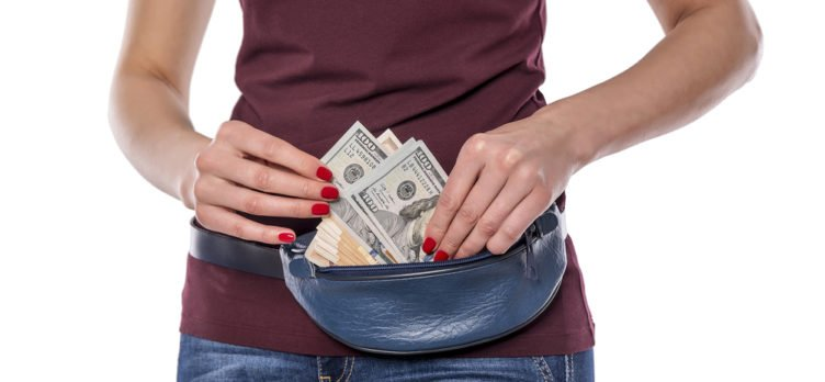 lady wearing a money belt