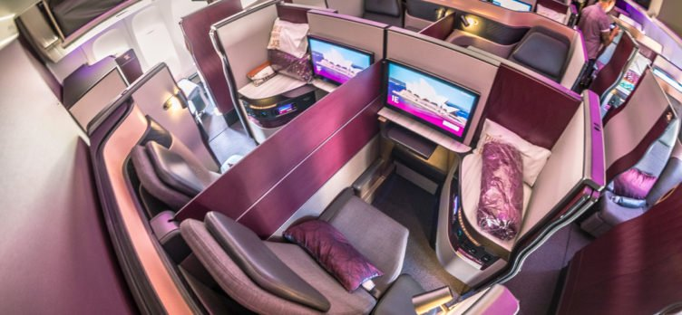 Qatar Airways Boeing 777 Qsuite Business Class Cabin