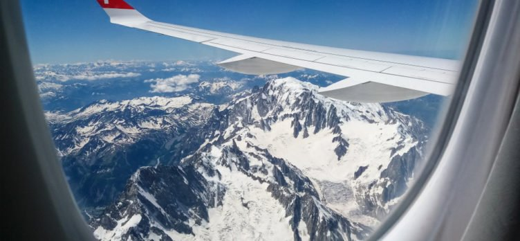 Flying over the Alps on Swiss Air