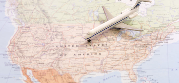 Map of the USA with a plane