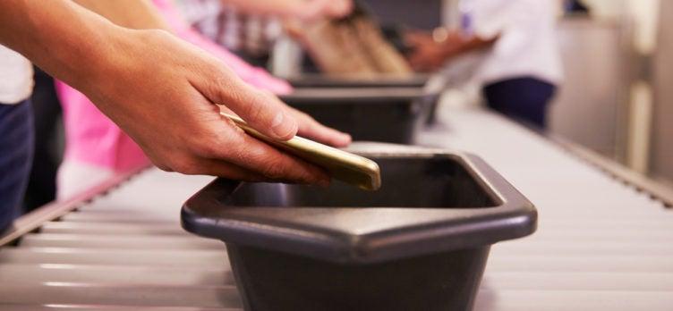 TSA Airport Security Cellphone Bin