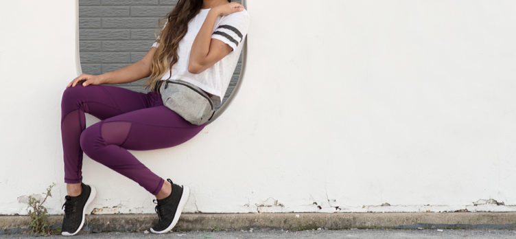 Young woman wearing a fanny pack