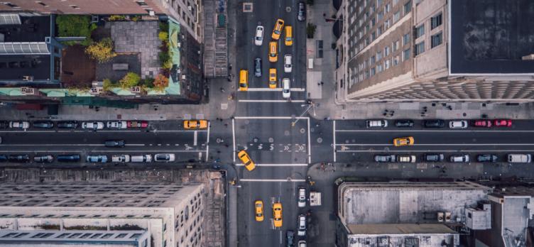 Bird's Eye View of Manhattan, New Yorkq